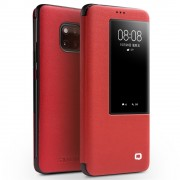 QIALINO for Huawei Mate 20 Pro View Window Cowhide Leather Smart Case - Red