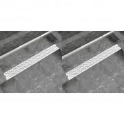 vidaXL 2 db lineáris rozsdamentes acél hullám zuhany lefolyó 930x140mm