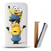 Toc Samsung Galaxy S Duos S7562 Trend Plus S7580 Trend S7560 Husa Piele Ecologica Flip Vertical Alba Model Two Minions