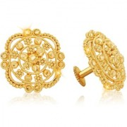 Vighnaharta Traditional 1gm Gold South Screw Back Alloy Gold and Micron Plated Stud Earring- VFJ01124ERG
