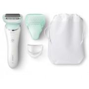 Epilator Philips SatinShave Prestiger BRL160/00, cap multiflex cu doua foite metalice, acumulator, 1 viteza, capac de protectie, husa, perie de curatat, alb
