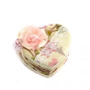 Cutie de bijuterii inima cu plus roz trandafir si oglinda