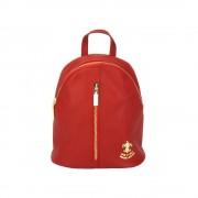 Zaino lorella multi-funzione in cuoio rosso chiaro made in italy produzione di pelletteria toscana