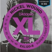 DAddario EXL120-8 8-String Nickel Wound Electric Guitar Strings Super Light 9-65