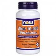 Алое Вера с Пробиотик - Aloe Vera 10000 & Probiotics - 60 капсули - NOW FOODS, NF3029