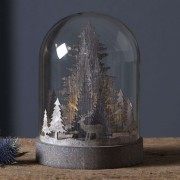 Kupol LED decorative light, forest scene, brown