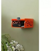 Onlineshoppee MDF Beautiful Design Set top box Wall Shelf Colour-Orange