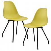 [en.casa] Jídelní židle 2 x AAES-0505 hořčicově žlutá