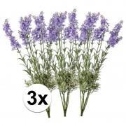 Bellatio flowers & plants 3x Kunstbloemen lavendel lichtpaars