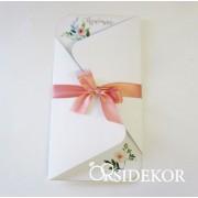 Kinyitható esküvői meghívó szalaggal átkötve