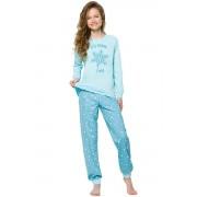 Nora Snow lányka pizsama hópelyhekkel, kék 152
