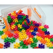 Z-COLOR 100 Pcs 8 Colors-Mix Safe Non-Toxic Material Interlocking Plastic Brain Flakes Colorful Mighty Molecules Solid PE Plastic Building Sets