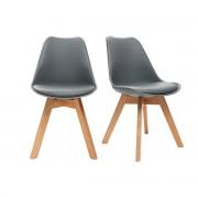 Miliboo Chaises design grises avec pieds bois clair (lot de 2) PAULINE