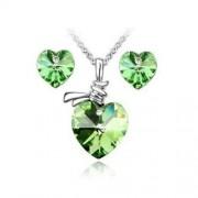 Szív alakú kristályos ékszer szett - Olive green