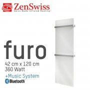 ZenSwiss furo Music Handtuchtrockner 42 x 120 cm (Glanz Weiss)