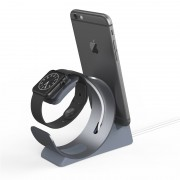 Aluminum Alloy Apple Watch iPhone Charging Sync Stand Dock Station - Grey