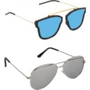 Pogo Fashion Club Retro Square, Aviator Sunglasses(Blue, Silver)