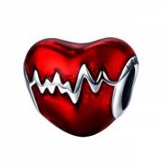 Talisman charm argint 925 KRASSUS Heart Beat, pentru bratara sau pandantiv lant, model inima