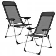 PremiumXL - [casa.pro] Stolica za kampiranje / stolica za pecanje dupli set (sklopiva, crna, 108x58cm)