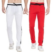 Cliths Sports lower for men stylish Cotton Trackpants- Pack of 2 (White Black And Red Black)