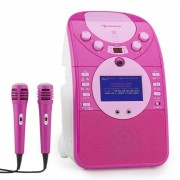 Auna ScreenStar Equipo de karaoke Cámara CD USB SD MP3 incl. 2 x micrófonos rosa (KS1-539pink)