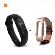 """Xiaomi 0.42"""" pantalla tactil OLED Mi banda 2 pulsera inteligente + banda de cuero"""