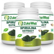Spirulina Extract 500 mg (60 Pure Veg Capsules) for Digestion-Pack of 3