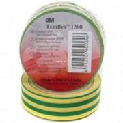 3M Tempflex 1300 20mx19mm PVC, elektromos szigetelőszalag, zöld-sárga