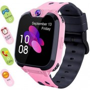 INIUPO Reloj inteligente para niños y niñas, con visualización táctil, con cámara SOS y 7 juegos, despertador, reproductor de música para niños, regalos de cumpleaños de 4 a 12 niños, reloj de teléfono con tarjeta SD de 1 GB, Rosado