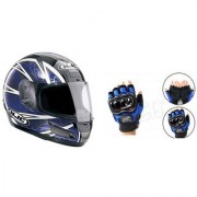 Combo Blue Probiker Stylish ISI Half Face Helmet+Hand Golves