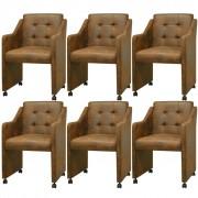 vidaXL Трапезни столове, 6 бр, кафяви, 59x57,5x86,5 cм