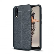 Huawei P20 Litchi Texture Soft TPU Protective Back Cover Case(Navy Blue)