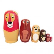 EVINIS6 Pcs Cute Animal Doll Wooden Russian Nesting Dolls Matryoshka Wood Nested Stacking Dolls
