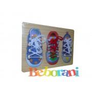 Дървена дъска обувки за връзване