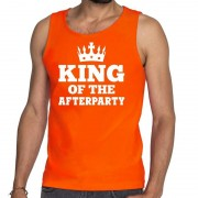 Bellatio Decorations Oranje King of the afterparty tanktop / mouwloos shirt heren