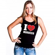 Bellatio Decorations Zwart I love Marokko fan singlet shirt/ tanktop dames
