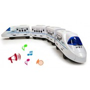Bullet Train Kids Train Set of 4 PC Train Compartment Engine Set, Locomotive Train Engine Battery Operated Train Simulating a True Story Classic Train, A Good Time Pass for Your Kids, 45CM x 7CM