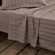 La Redoute Interieurs Lençol em cetim de algodão, às riscascastanho-toupeira- 240 x 290 cm
