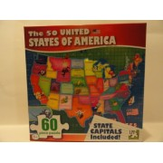 The 50 United States of America 60 Piece Puzzle - State Capitals Included!