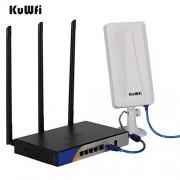 KuWFi 300 Mbps Router inalámbrico de Alta Potencia Puerto USB con OpenWRT Wireless WiFi USB Adaptador 5M Cable USB Extender Larga Distancia
