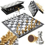 Generic Chess Game Silver Gold Pieces Folding Magnetic Foldable Board Contemporary Set One Piece