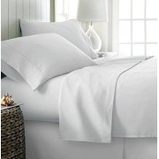 Simply Soft Juego de sábanas de 4 Piezas Ultra Suaves, Contemporáneo, Blanco, Doble X-Large, 1, 1