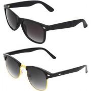 Zyaden Combo of 2 Wayfarer & Clubmaster Sunglasses