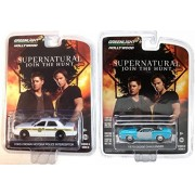 Supernatural Series 8 TV Show 2 Car Set 1970 Dodge Challenger & Ford Crown Vic Police Greenlight Hol