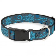 "Buckle Down Buckle-Down 6-9"" Holiday Snowflakes Gray/Blue Plastic Clip Collar, Narrow Small"