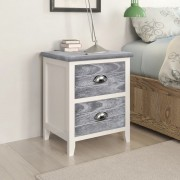 vidaXL Nightstand 2 pcs with 2 Drawers Grey and White