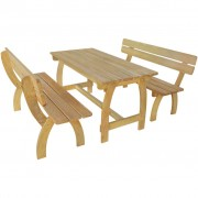 vidaXL Garden Bench Set 3 Pieces Impregnated Pinewood