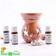 Candelă de aromaterapie și 3 sticlute de ulei esențial 10 ml EUCALIPT, PORTOCALE DULCI și LAVANDĂ