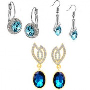Om Jewells Fashion Jewellery combo of 3 dazzling solitaire blue crystals dangler earrings for girls and women CO1000142
