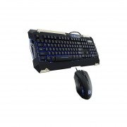 Kit Teclado Y Mouse Thermaltake Commander Gaming Gear Combo Alambrico USB Gamer Retroiluminado Led Azul (KB-CMC-PLBLSP-01)-Negro